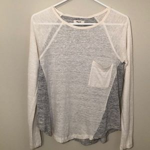 Madewell long sleeve cream/grey 100% linen top